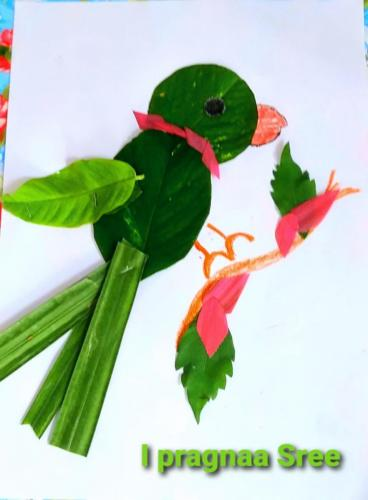 """Weekend activity by our Tiny Tots """"Fouliart"""" Creating scenery with colourful leaves."""